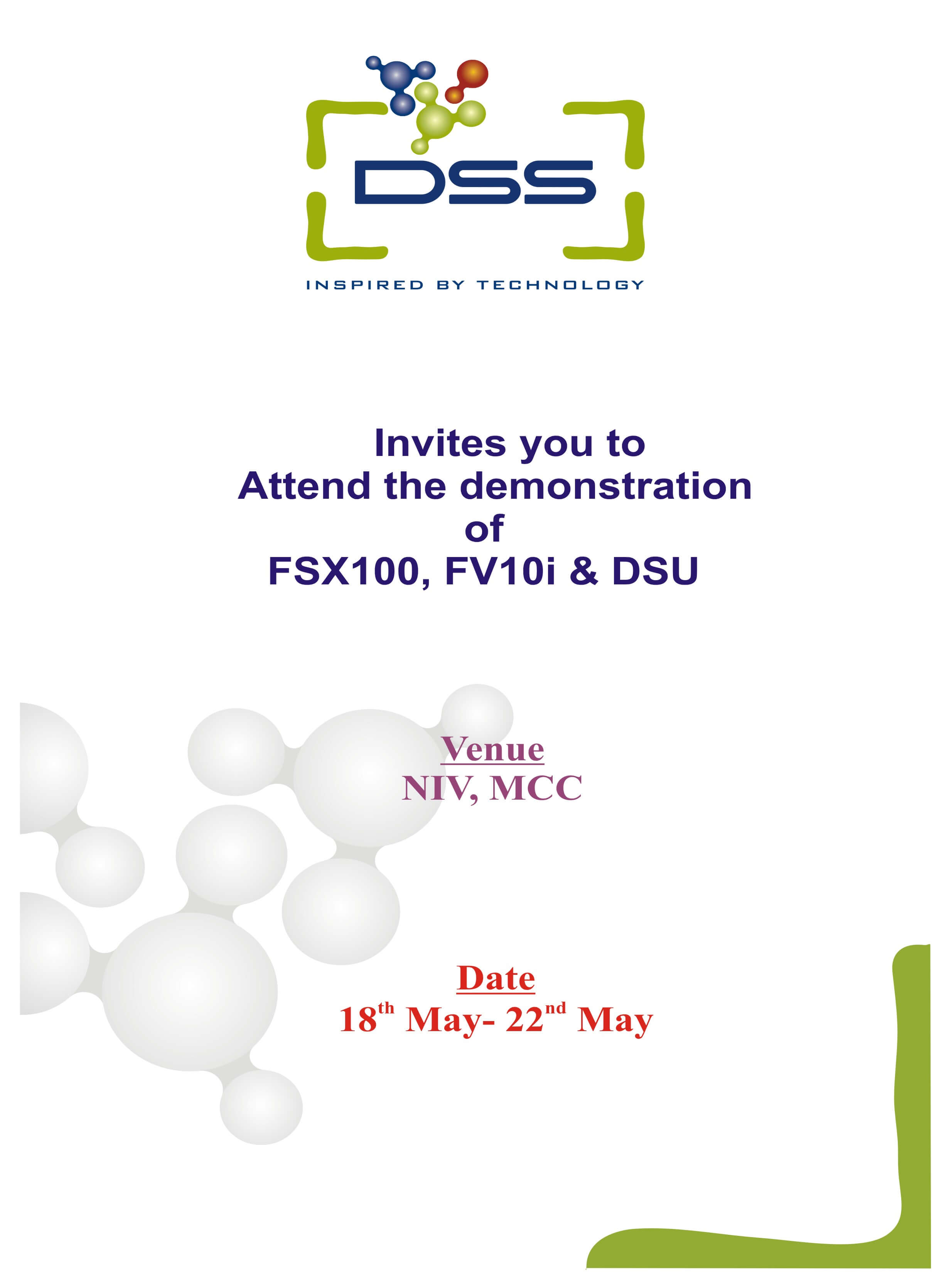 DSS Imagetech Invitation For The Demonstration Of Fsx100, Fv10i, Dsu